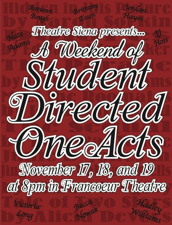 If you go: Students Directed One-Acts run November 17th-19th at 8p each evening. It is free and open to the public.